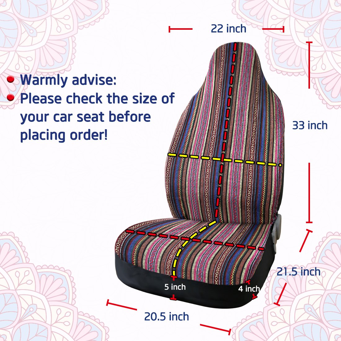 uxcell Universal Baja Blanket Ethnic Style Bucket Seat Cover for Car Auto Automotive