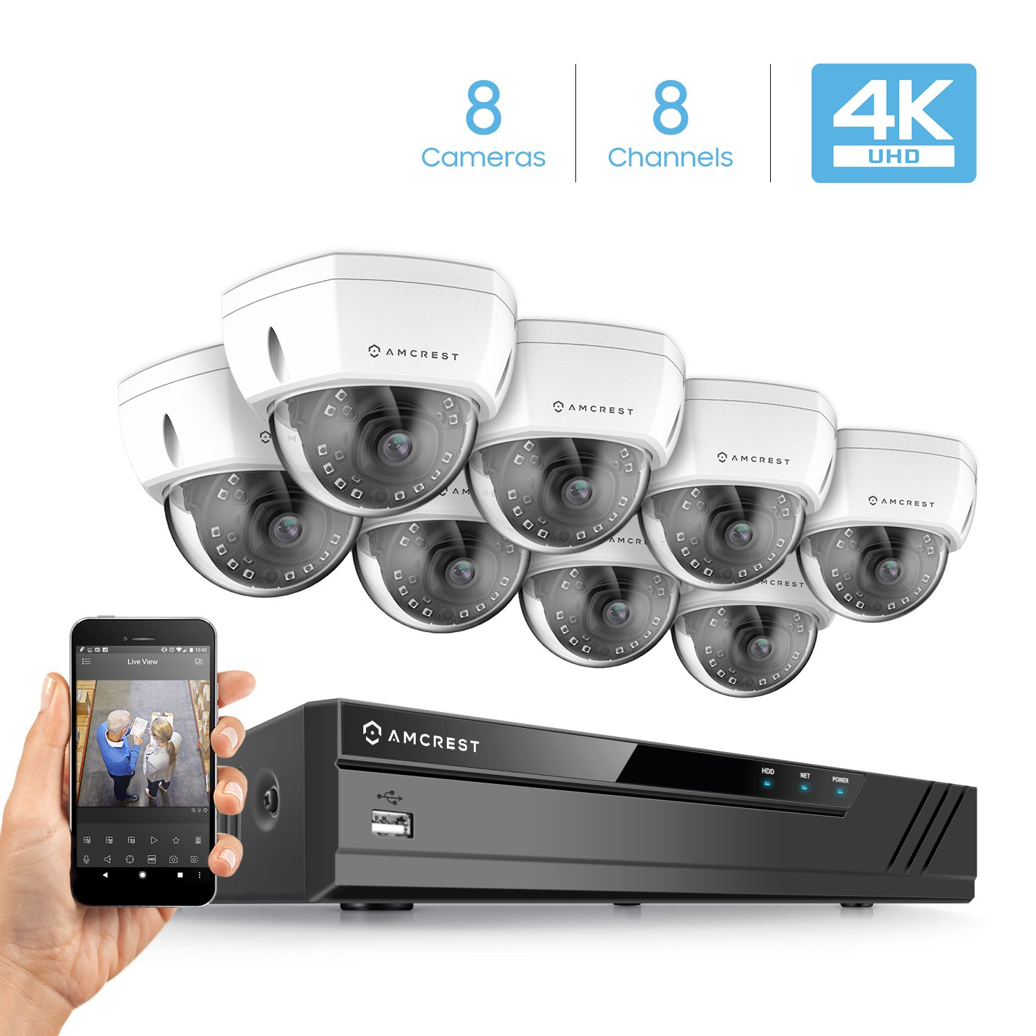 Amcrest 8CH 4K Security Camera System w H.265 4K 8MP NVR, 8 x 4K 8-Megapixel IP67 Weatherproof Metal Dome POE IP Cameras 3840×2160 , 2.8mm Wide Angle Lens, NV4108E-HS-IP8M-2493EW8 White