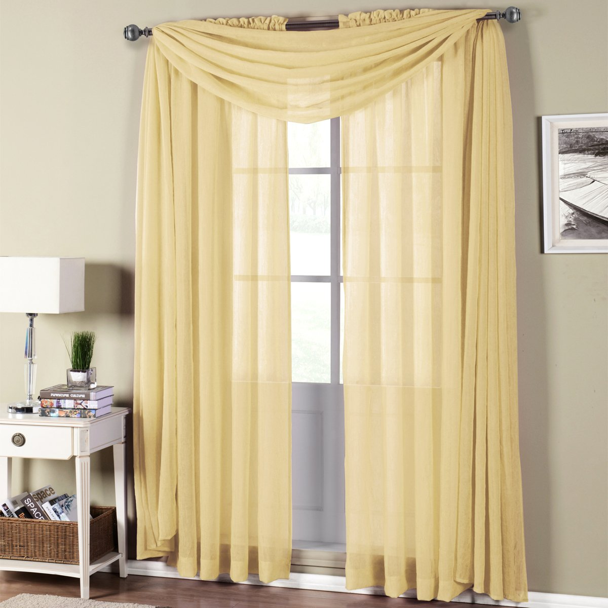 Abri White Rod Pocket Crushed Sheer Curtain Panel 50x63 Crisya In Mocca 37 Inches By Royal Hotel Home Kitchen