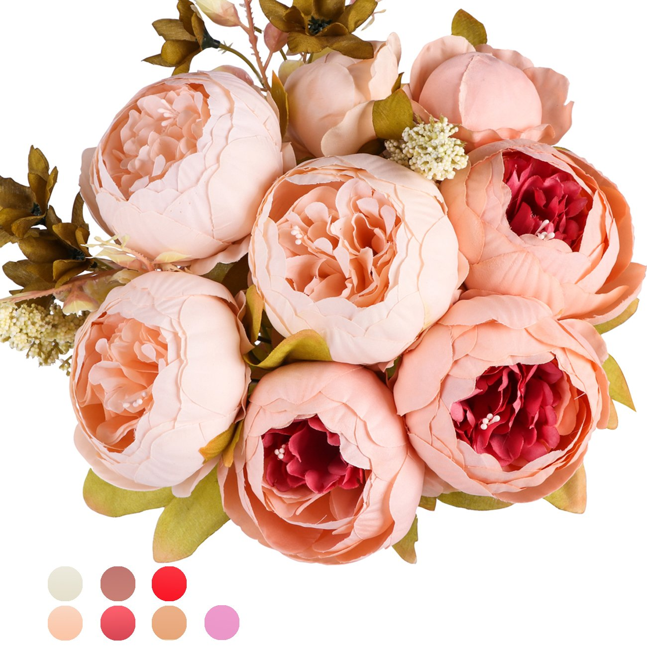 Amazon Ogrmar Vintage Artificial Peony Silk Flowers Bouquet For