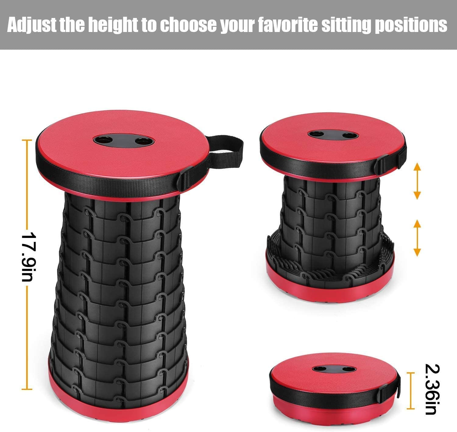 Portable Telescoping Stool Folding Camping Stool Seat for Fishing Hiking Traveling Outdoor Activities Camping//Fishing//Hiking//Travel//BBQ//Garden Max Load 330 lbs