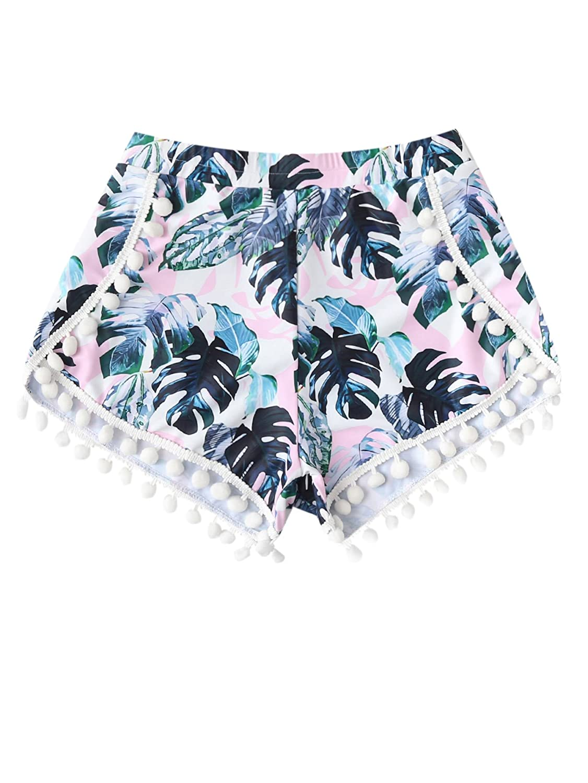 66f0eda05a Online Cheap wholesale Romwe Womens Floral Print Random Pom Pom Trim  Elastic Mid Waist Wide Leg Beach Shorts Shorts Suppliers