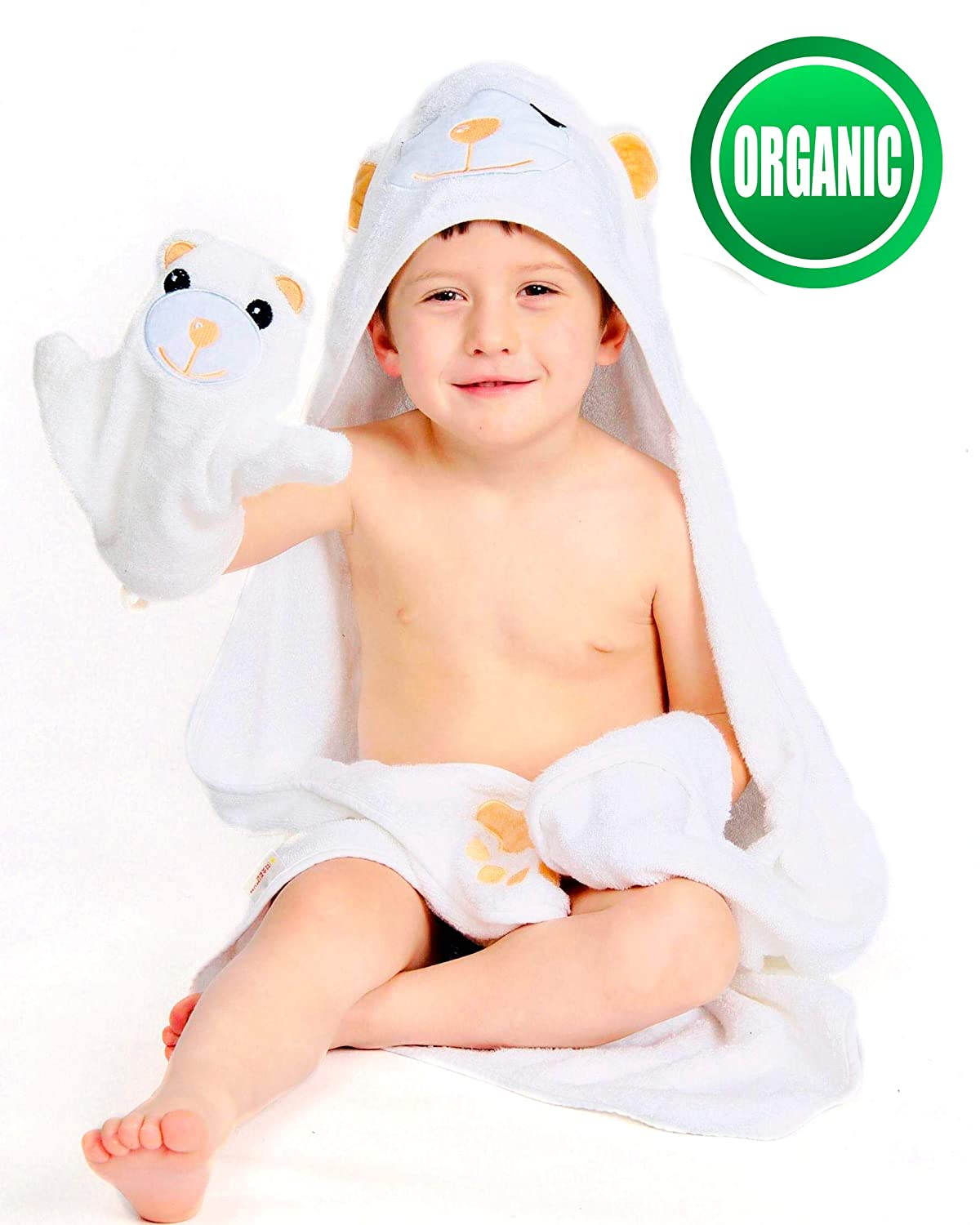 Ideal Baby Gifts for Baby Showers and Birthdays | Large Ultra Absorbent 35x35 Inches 100/% Organic Bamboo Hooded Baby Towel and Washcloth Set 500 GSM Premium Extra Soft and Thick Bath Towels