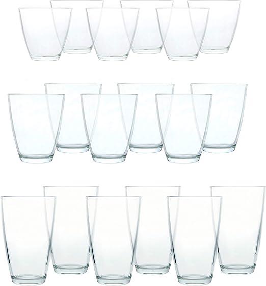 18-tlg Gläserset Longdrinkgläser Saftgläser Whiskygläser Glas Gläser Wasserglas