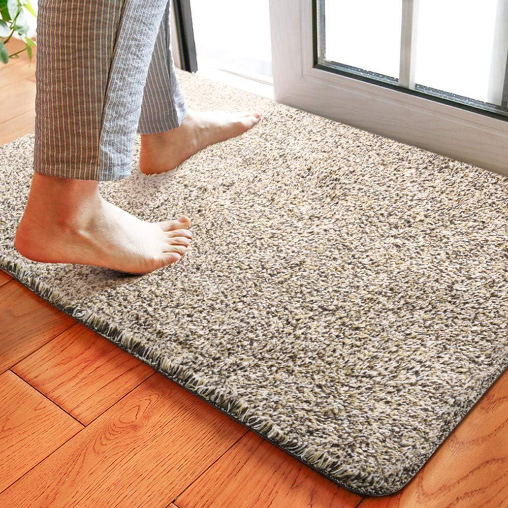 "Delxo 18""x30"" Magic Doormat Absorbs Mud Doormat No Odor Durable Anti-Slip Rubber Back Low-Profile Entrance Door Mat Large Cotton Shoe Scraper Pet Mat Machine Washable (Beige)"