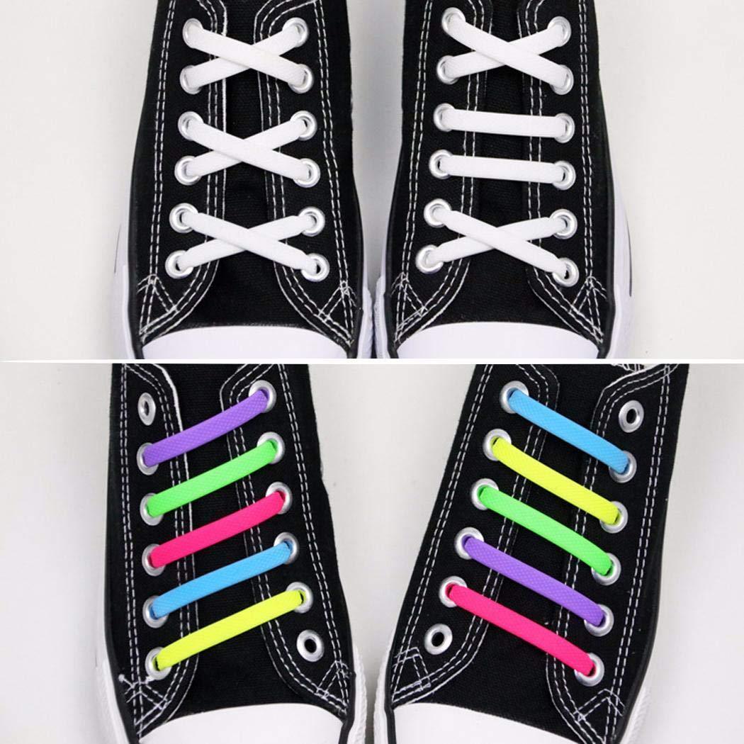 Alisena 16pcs Flexible Elastic Shoelace Wash-free Silicone No Knotting Shoe Laces for Men Women Orange