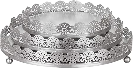 Amalfi Decor 3 Piece Silver Decorative Tray Set Round Metal Ornate Accent Vanity Food Display Serving Platter Holder Plates Serving Trays Amazon Com