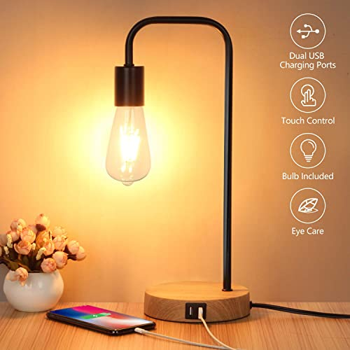 Touch Control Table Lamp, USB Desk Lamp, 3 Way Dimmable Modern Nightstand Lamp with Two USB Charging Ports for Bedroom, Living Room, Office, Dimmable Vintage 6W ST64 E26 LED Bulb Included