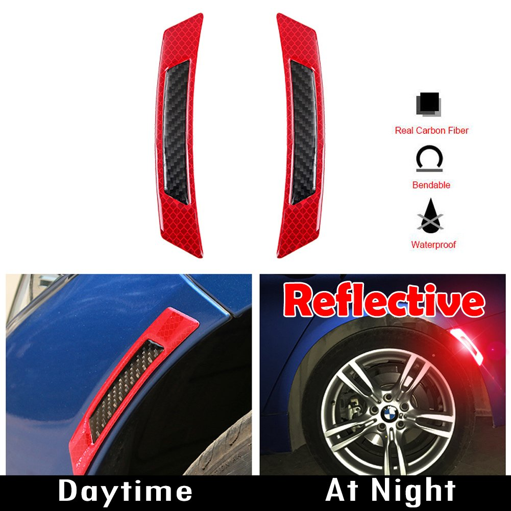 GTINTHEBOX 3D Super Reflective White Stickers w//Real Carbon Fiber Strips Car Side Wheel Eyebrow Edge Bumper Fender Anti-Scratch Protection Guards Trim Stickers Universal Fit Car SUV Pickup Truck 2PCS