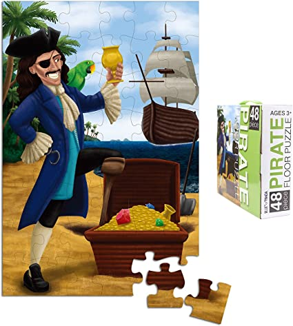 48-Piece Floor Puzzle for Kids - Pirate Jumbo Jigsaw Puzzle, 1.9 x 2.9 Feet