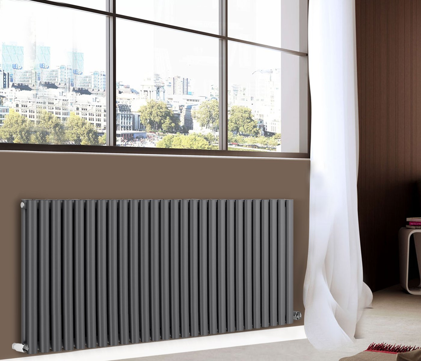 White Horizontal Designer Oval Column Panel Bathroom Modern Radiator 600x1593mm