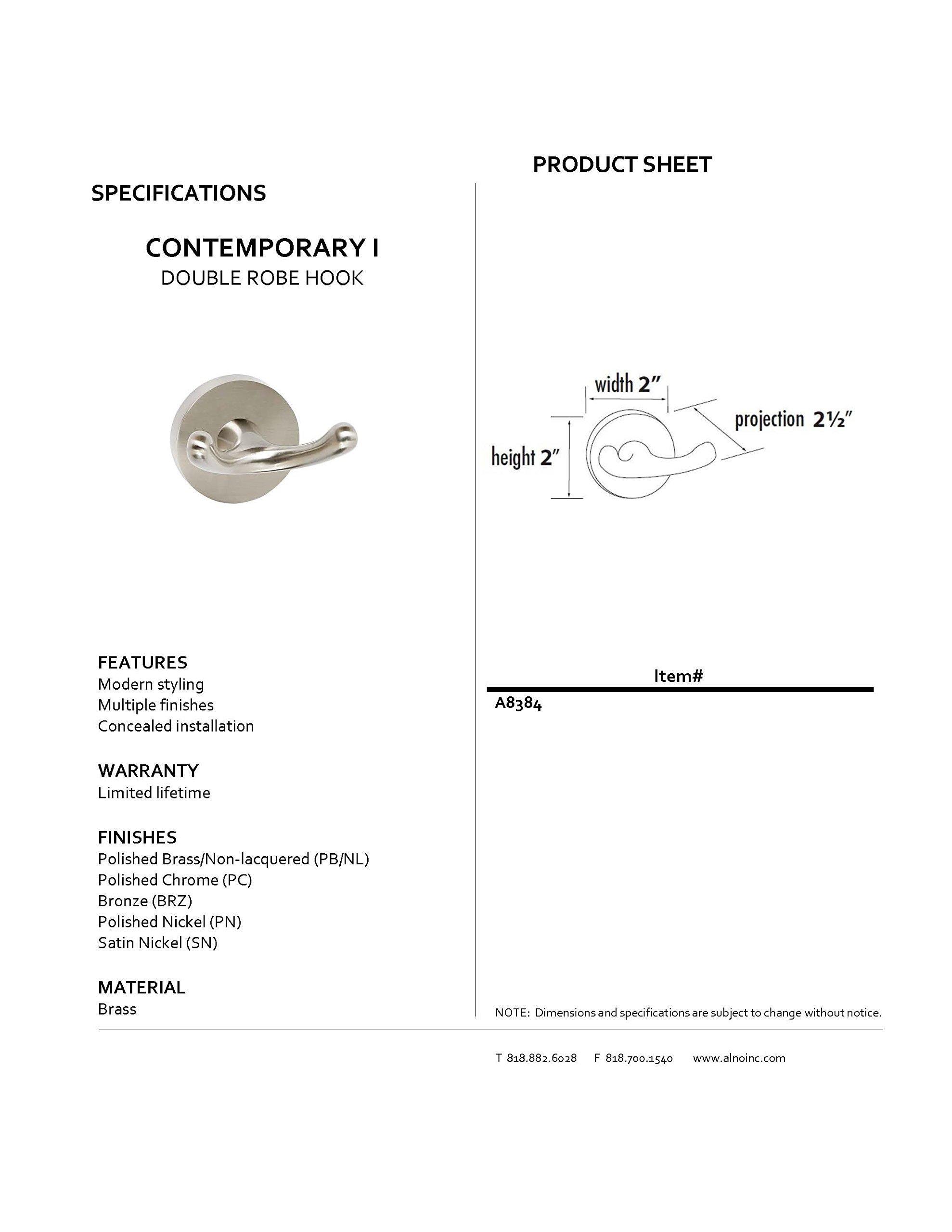 Alno A8384-PC Contemporary I Modern Robe Hooks, Polished Chrome