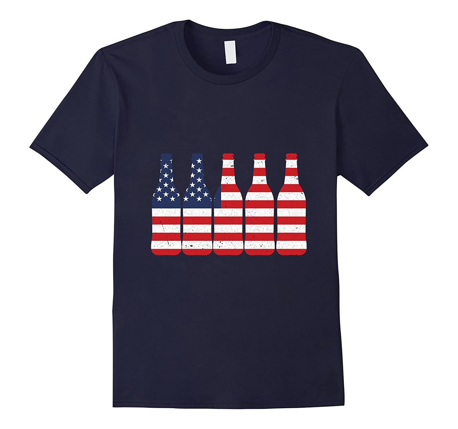 Beer Bottle Flag T-shirt 4TH Of July Red White And Blue-PL