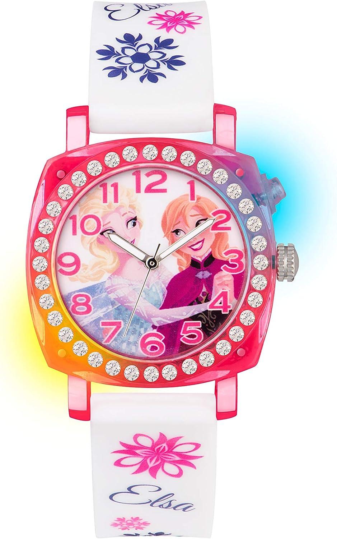 Reloj analógico Infantil con Mecanismo de Cuarzo, diseño de Frozen, Esfera Multicolor y Correa de plástico Blanco FZN3789