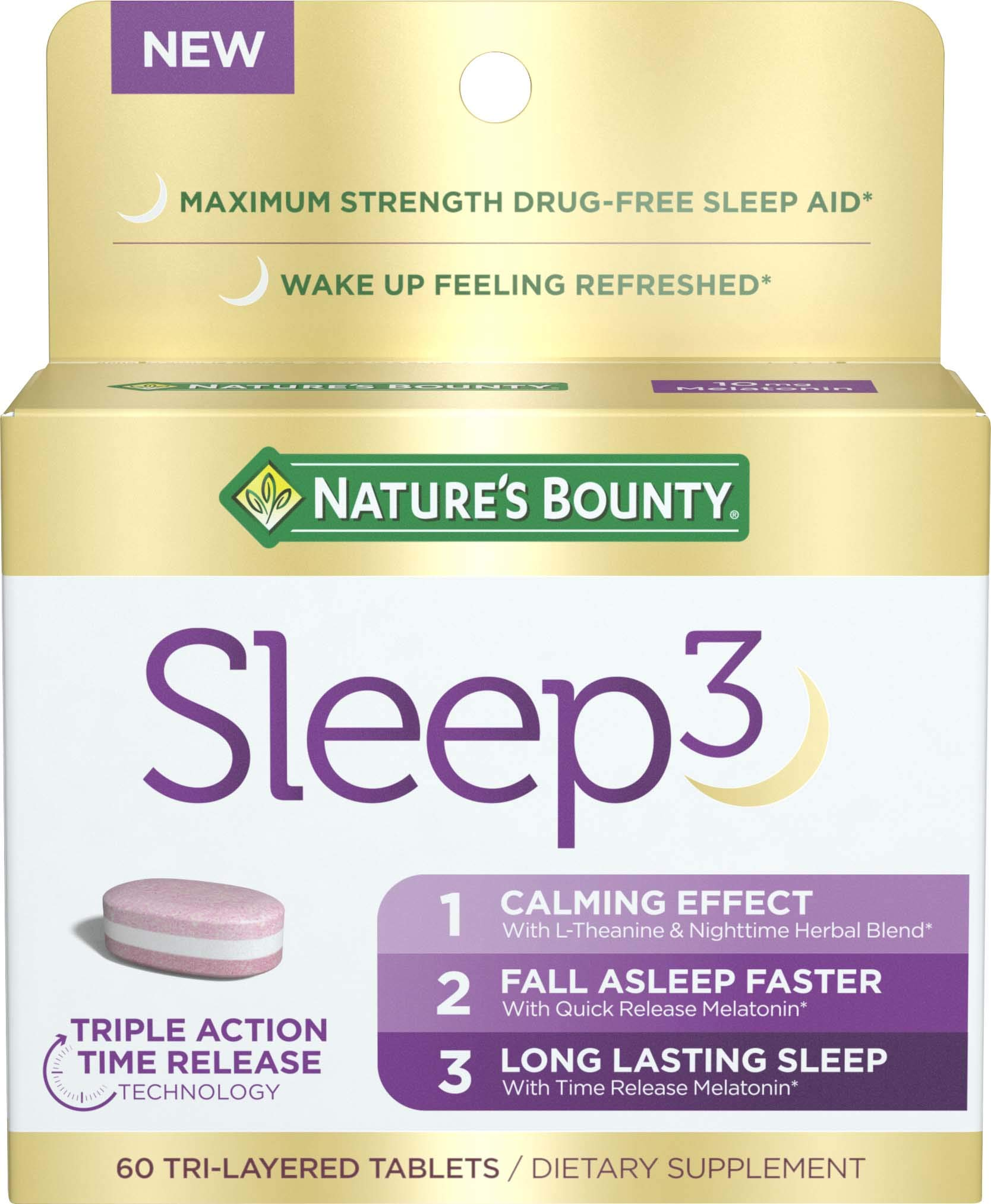 Nature's Bounty Sleep3 Tri-Layer Melatonin, with L-Theanine & Nighttime Herbal Blend, for Long Lasting Sleep for Occasional Sleeplessness* with Time Release 10mg of Melatonin, 60Count by Nature's Bounty