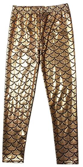 473cb8e940459d Alaroo Girls High Stretch Scale Mermaid Leggings For Halloween Golden 5-6  Years