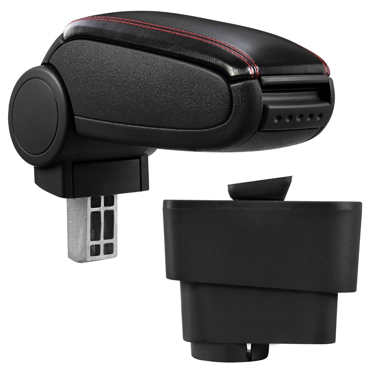 avec compartiment de rangement pour Fiat Grande Punto /à partir de 2005 Accoudoir central noir en simili cuir coutures rouges
