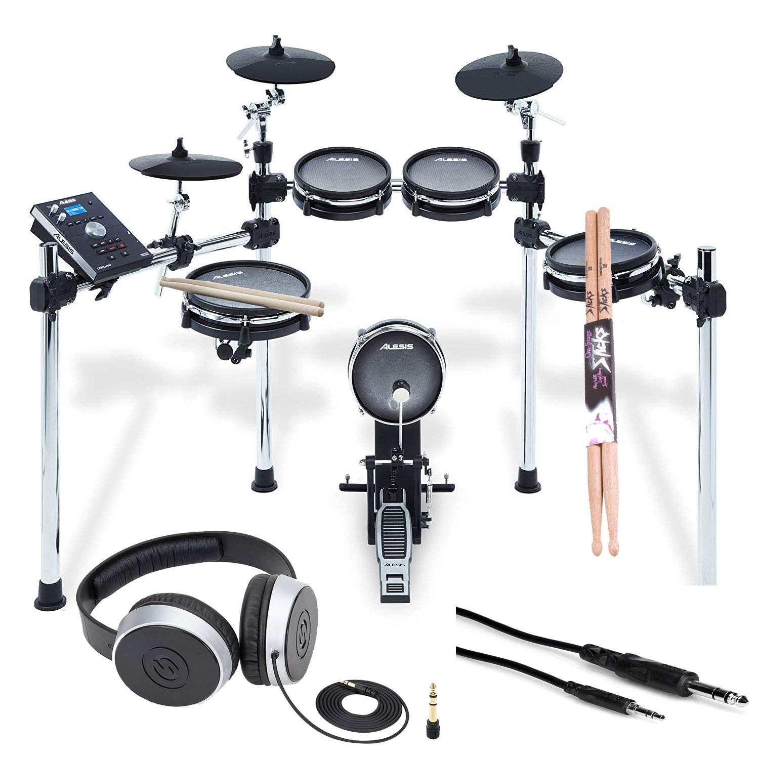 Alesis COMMAND MESH KIT Eight-Piece Electronic Drum Kit with Pair of Drumsticks + Samson SR550 Studio Headphones + Hosa 3.5 mm Interconnect Cable, 10 feet - Deluxe Accessory Bundle