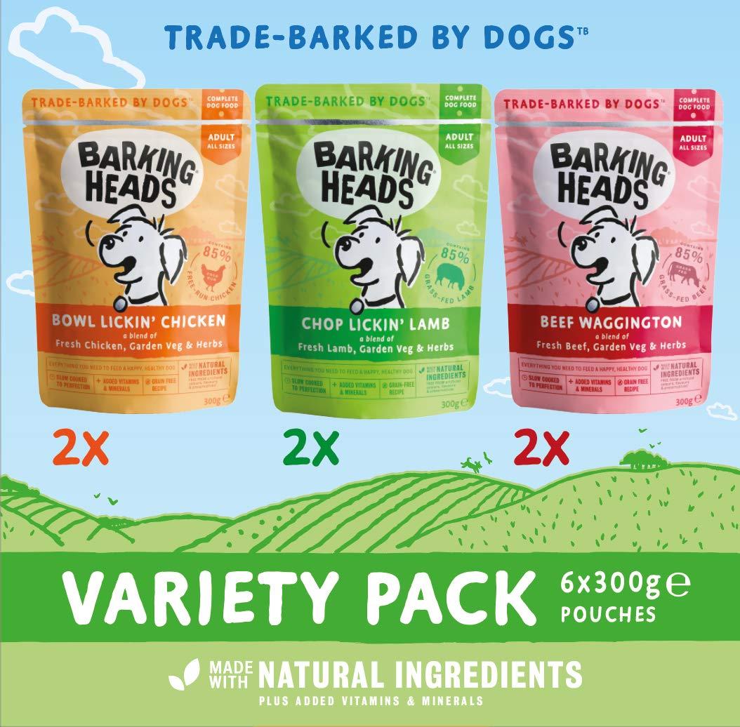 Pack Surtido con Vitaminas Y Minerales A/ñadidos 6 X 300 G 1800 g Receta Natural Sin Cereales Ni Aromas Artificiales Barking Heads Sobres De Comida H/úmeda para Perros
