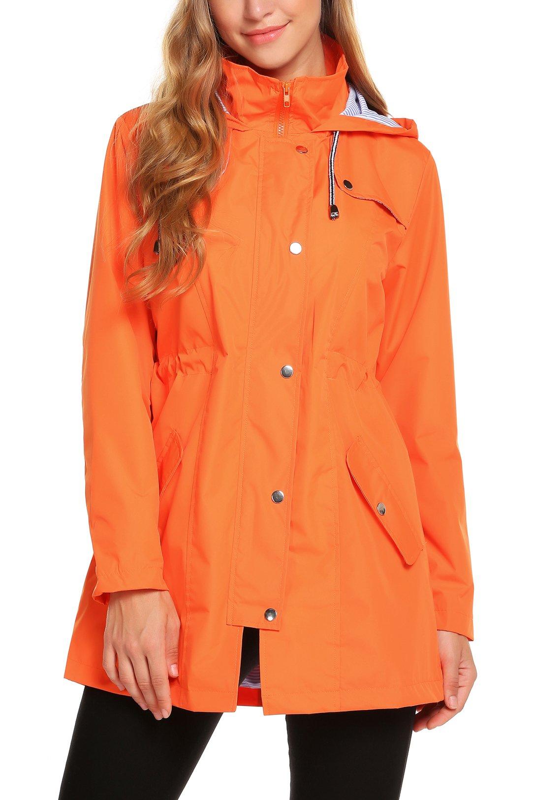 Women Casual Raincoats Active Outdoor Hooded Long Sleeve Waterproof Windproof Lightweight Jacket Orange by ZHENWEI
