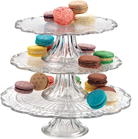Elegant Stackable 1 2 or 3 Tiers Glass Scalloped Edge Cake or Cupcake Stand  sc 1 st  Amazon.com & Amazon.com | Elegant Stackable 1 2 or 3 Tiers Glass Scalloped Edge ...
