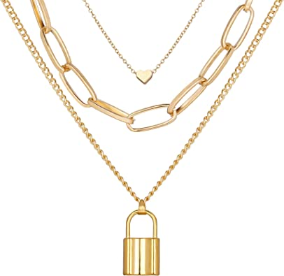 Gold layered Heart and Lock Chain