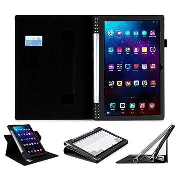 SHANGRUN Funda Cubierta de Piel con Función Atril Ranuras para Tarjetas Multiples Funciones Slim Fit Protectora Funda para Lenovo Yoga Tablet 2 Pro ...