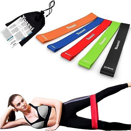 Sac de Transport Offert 5 Niveaux de Force Yoassi Bande /Élastique de Fitness dexercice en Latex pour Yoga//Exercices//Fitness//Musculation//R/é/éducation