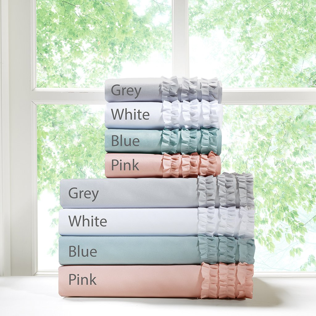 Intelligent Design Ruffled King Bed Sheets Set, Cotton/Country King Bed Sheets, 6-Piece Include Flat Sheet, Fitted Sheet & 4 Pillowcases, Pink