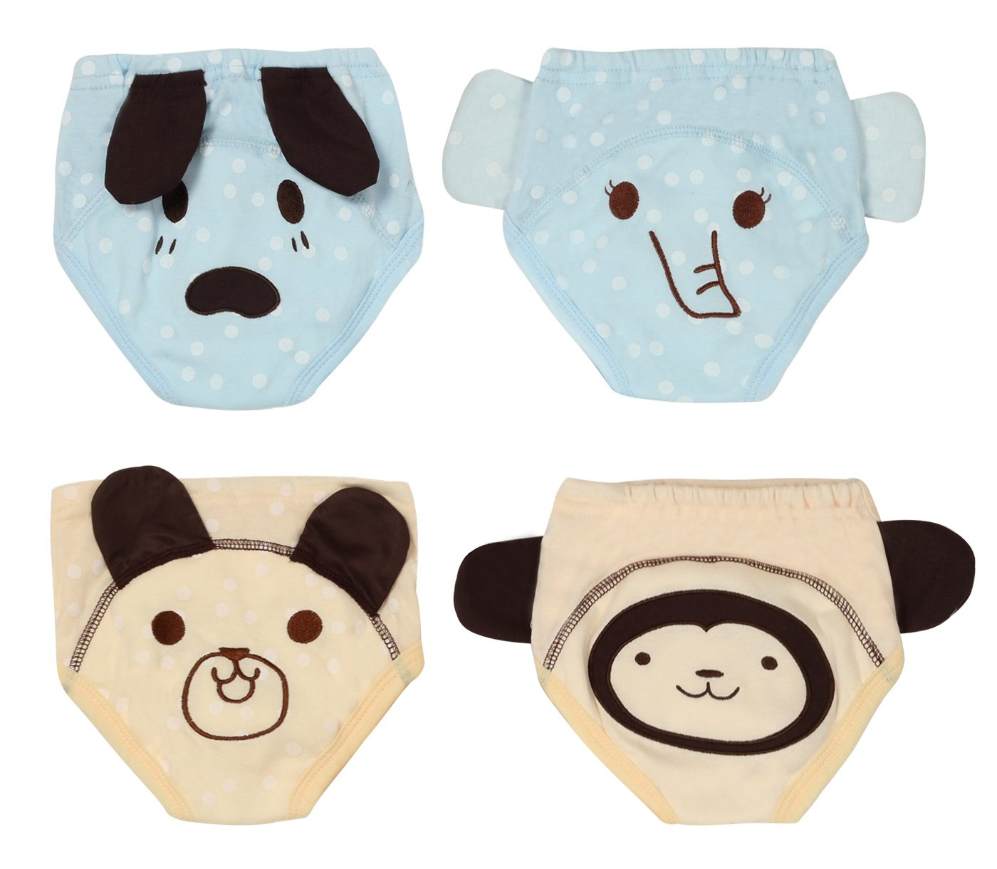 Baby Girls Boys 4 Pack Toilet Training Underwear Pants Soft Cotton Nappy Cloth Diaper Rabbit Pig Frog Fox Size 100 Joyo roy JR001016