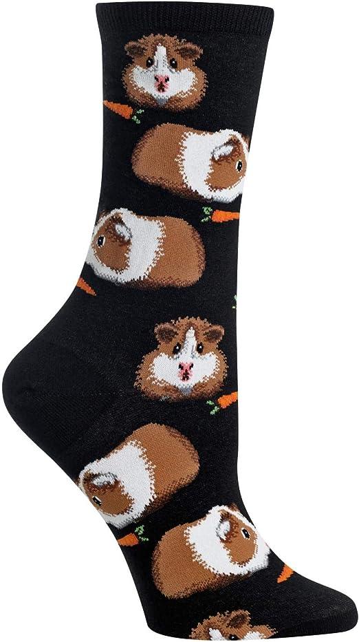 Guinea Pigs Hot Sox Women/'s Crew Socks Black New Novelty Colorful Pet Fashion