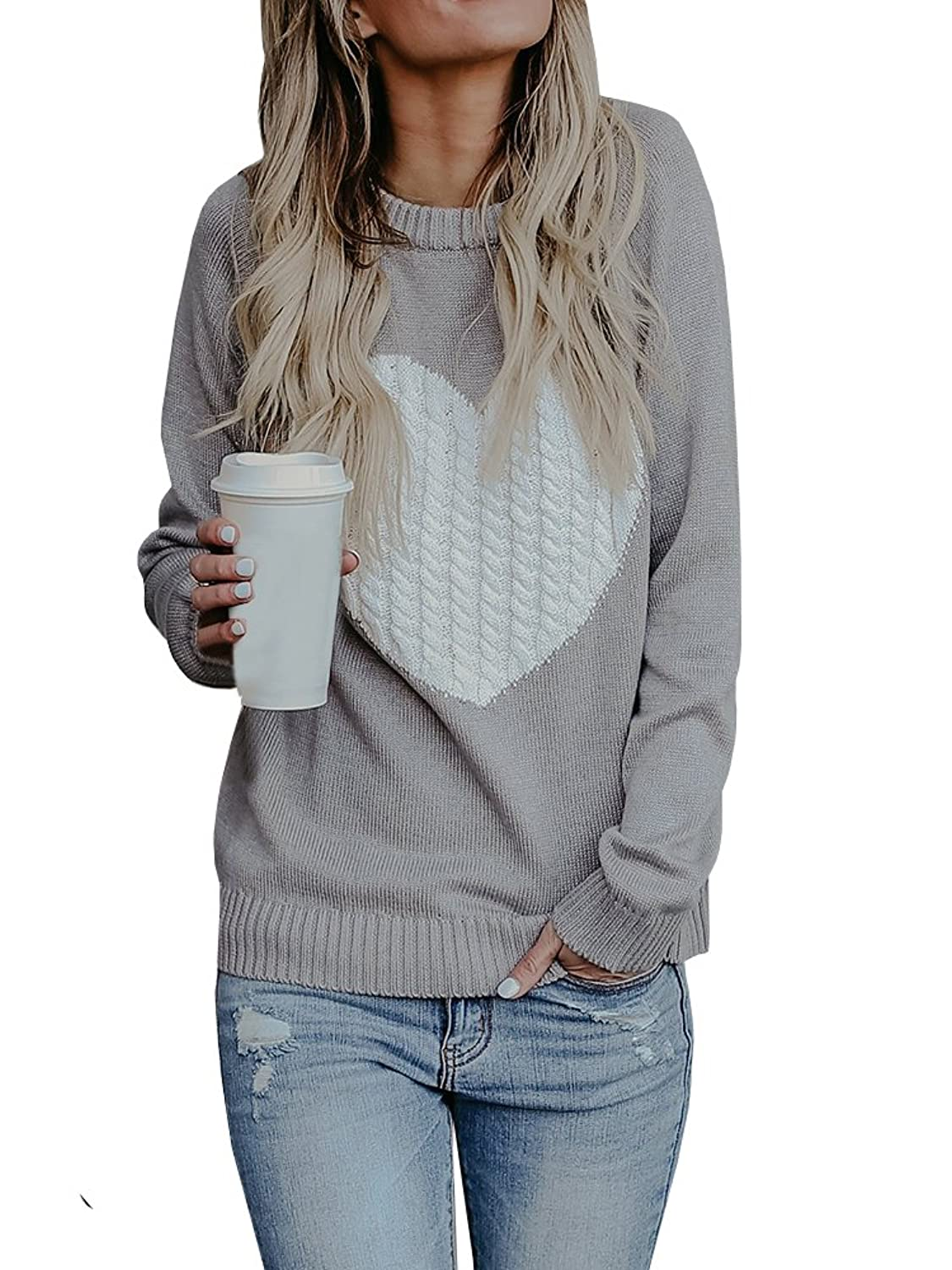 Ermonn Women Heart Printed Knit Sweater Crew Neck Long Sleeve Casual Pullover Jumpers for Valentine's Day