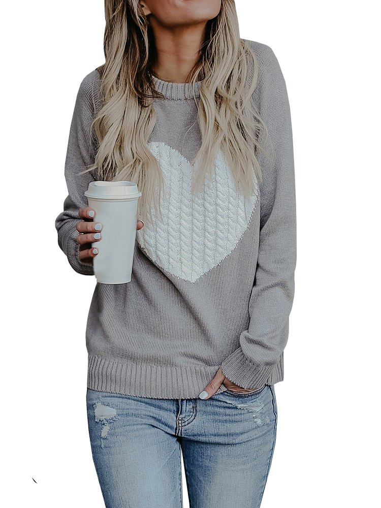 Nulibenna Womens Pullover Sweaters Knit Long Sleeve Cable Heart Patch Jumper Tops