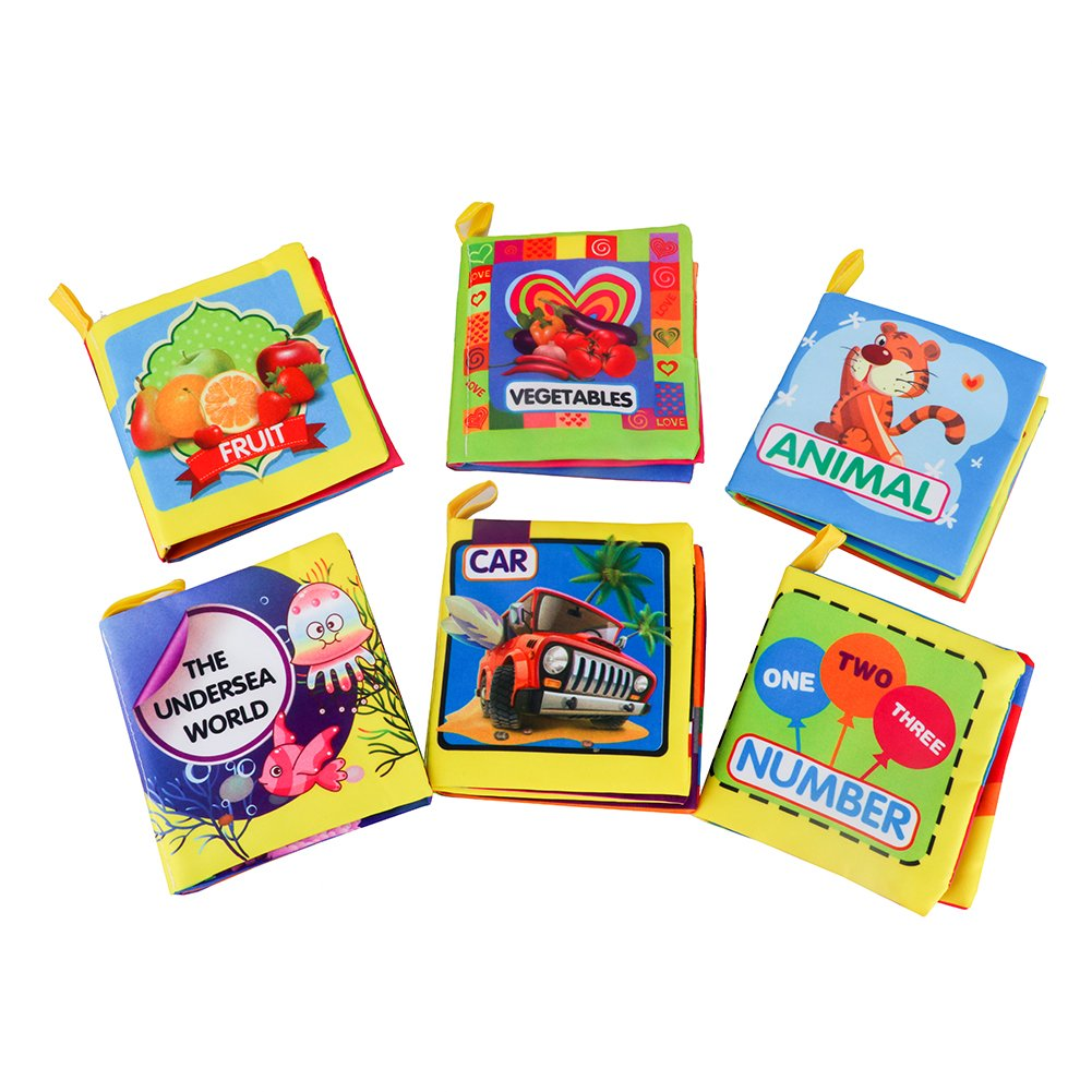 Pack of 6 Youbedo Babys Soft Cloth Book Non-Toxic Fabric Educational Book With A Rustling Sound