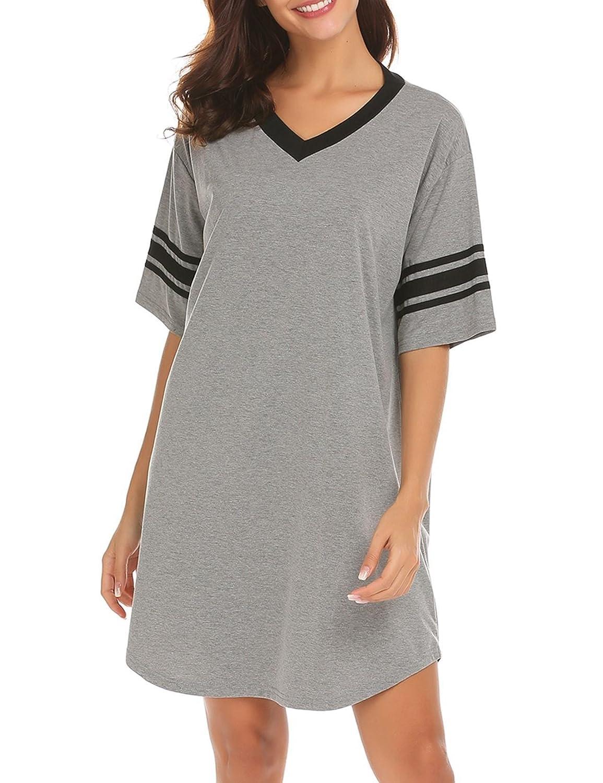 Goldenfox Sleepwear Shirt Woman Plus-Size Pajama Tops Loose Soft Nightgown  (Dark Grey 1d4d2270b