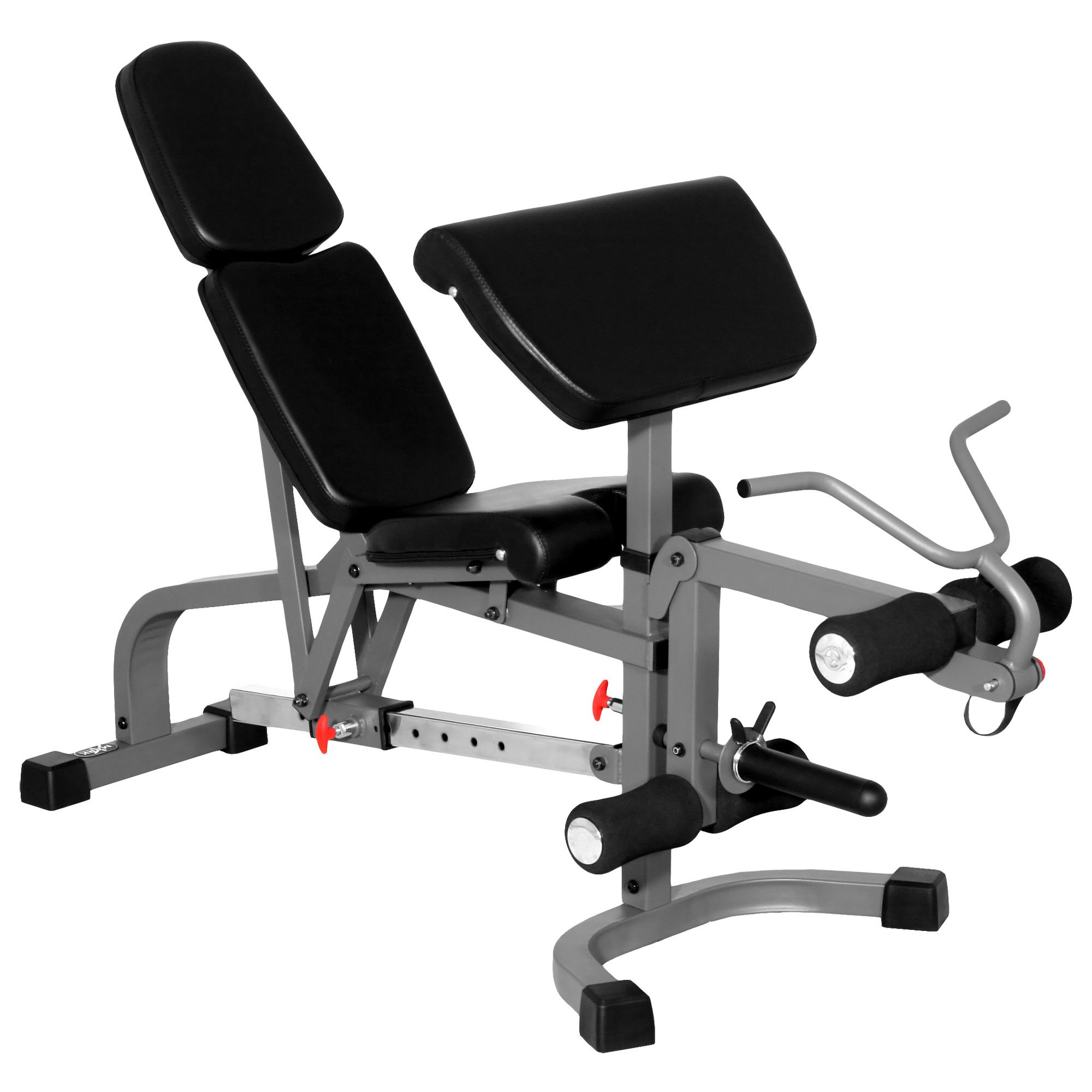 XMark FID Flat Incline Decline Weight Bench, Adjustable Bench, Decline to Full Military Press Position, Preacher Curl and Leg Extension XM-4419 (Gray)