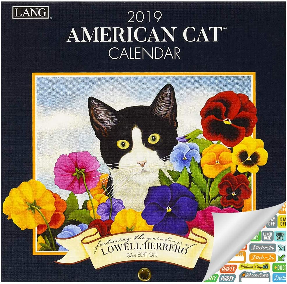 Lang American Cat Calendario 2019 Set – Deluxe 2019 Lowell Herrero Gatos Mini Calendario de pared Bundle con más de 100 pegatinas de calendario (regalo para amantes de los gatos para mujeres