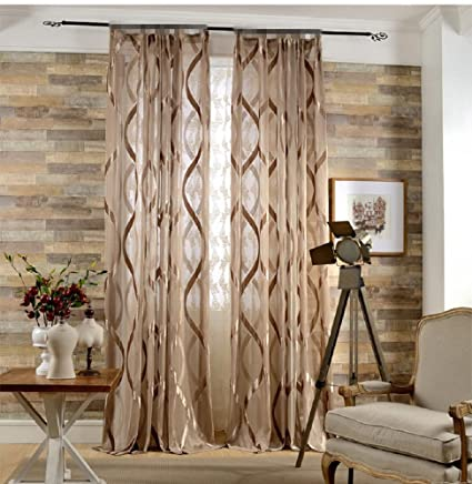 Tiyana Brown Sheer Curtains For Living Room 63 Inch Long Modern Home Fashions S Pattern Jacquard Semi Shading Window Curtains Rod Pocket Top Tulle