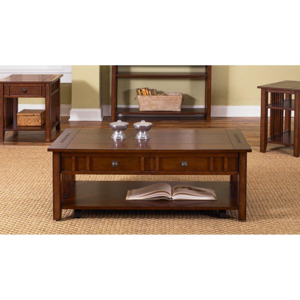 Amazoncom Prairie Hills Rectangular Coffee Table With Drawers - Rectangular cherry coffee table