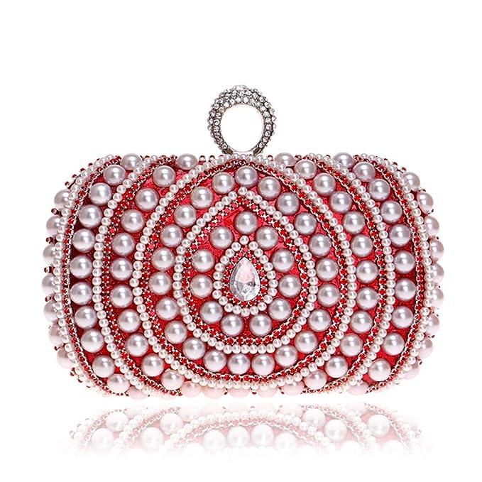 AFCITY Bolso Clutch Mujer Bolsos de Noche de Embrague para Mujer con Cuentas llenas de Perlas Artificiales Rhinestone Bolso para Boda Bolso De Noche De ...