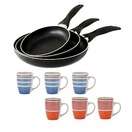 San Ignacio Pk1176 Set Hogar Cocina 3 Sartenes Y Set 6 Mugs, Azul