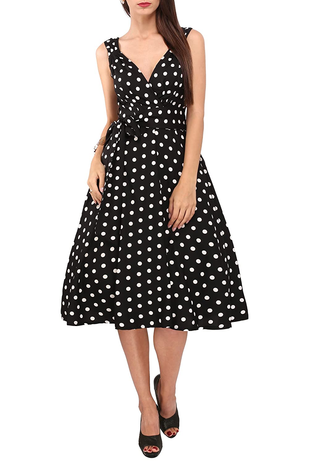 f3bf2922b2f0f Polka Dot Printed 1940s and 1950s Style Swing Vintage Rockabilly Ladies  Retro Prom Party Dresses Made from 100% Polyester - V Neck Cross-Over Cut