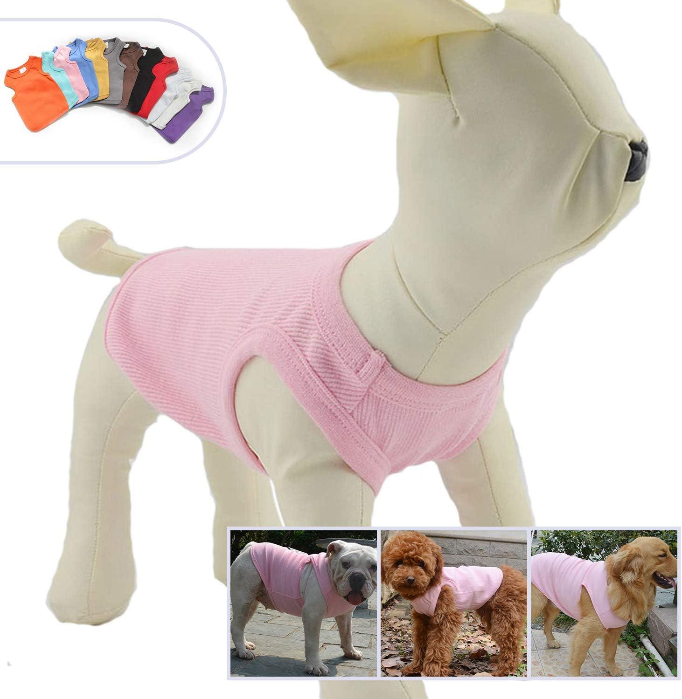 per la primavera e l/'estate Longlongpet Maglietta per cani per cani di taglia piccola t-shirt senza maniche in cotone a coste media e grande
