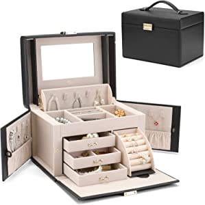 Vlando City Beauty Medium Jewelry Box, Faux Leather Jewelry Organizer Gift for Women-Black