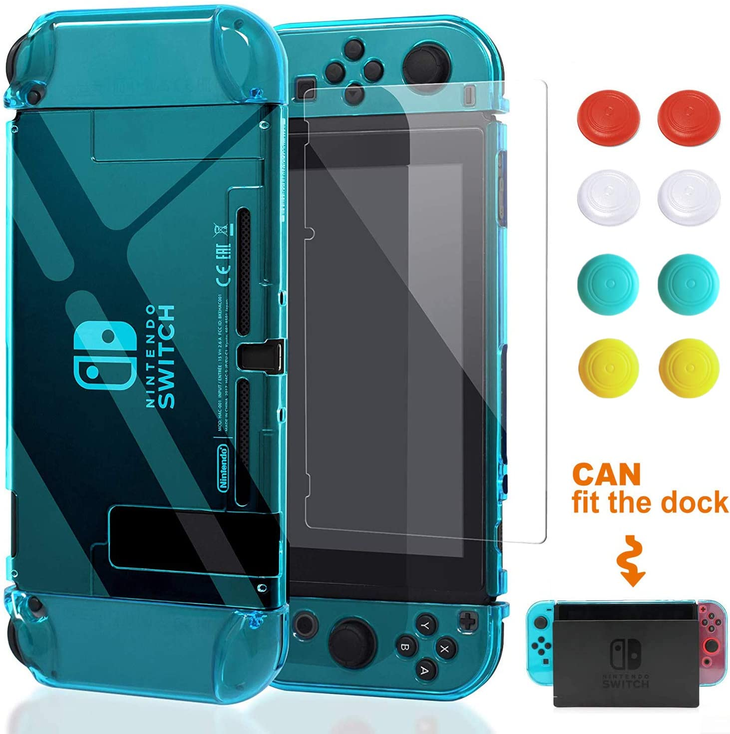VEGCOO Switch Case, Dockable Protective Case Crystal Clear Shockproof Ergonomic Anti-Scratch Cover for Nintendo Switch Console & Accessories(with 1 Glass Screen Protector & 8 Thumb Grips Caps)-Blue