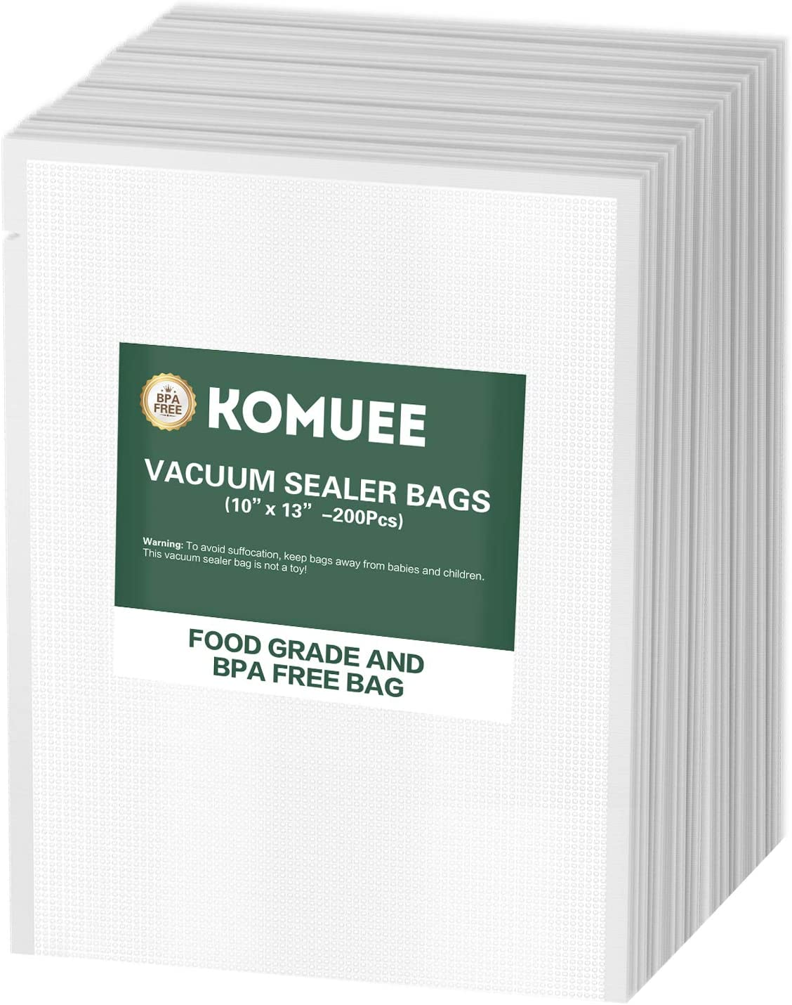 Vacuum Sealer Bags, KOMUEE 200 Quart Plus Vacuum Sealer Storage Bags 10x13 Inch for Food Saver, Seal a Meal Sealers, Heavy Duty Commercial Grade, Sous Vide Vaccume Meal Safe, Universal Pre-Cut Bag