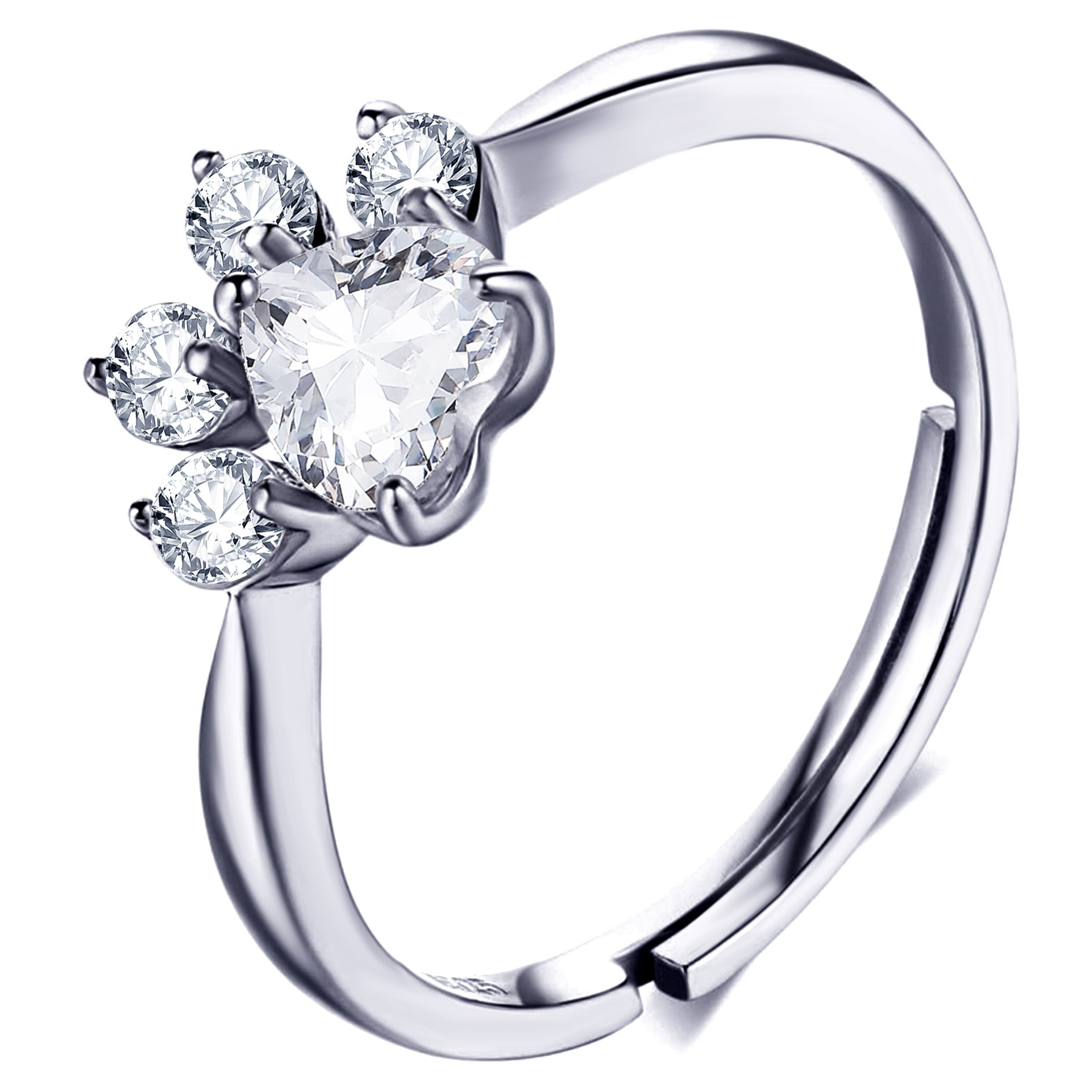 Meow Star Cat Paw Rose Crystal Ring Sterling Silver Cat Statement Ring for Cat Lovers (white)