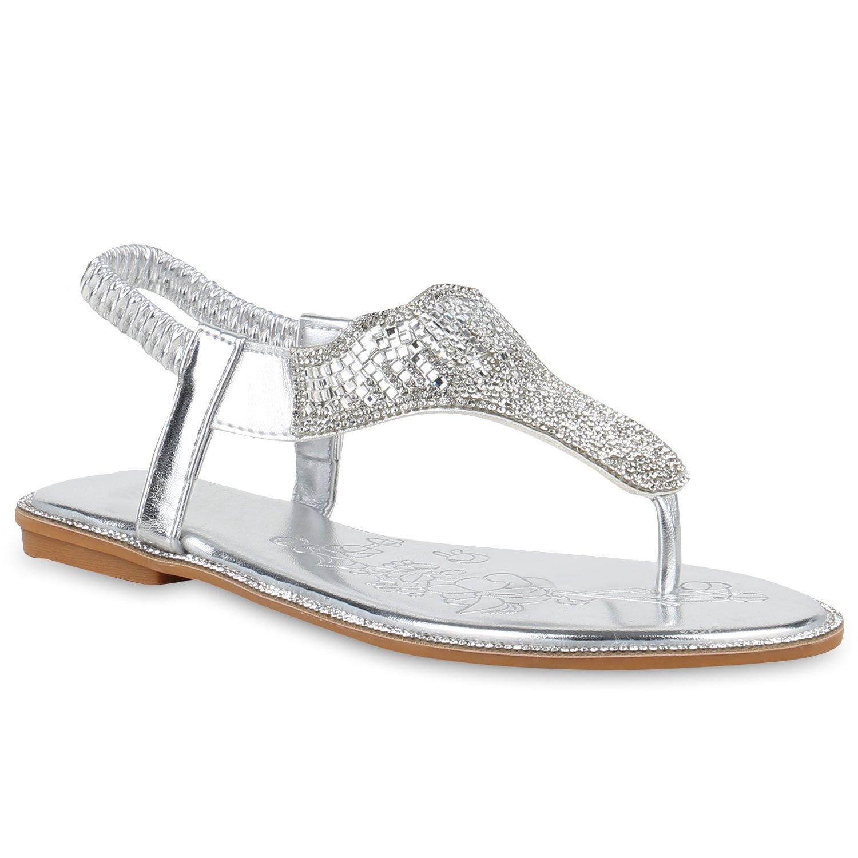 Stiefelparadies Damen Sandalen Zehentrenner mit Blockabsatz Flandell  38 EU|Silber Strass