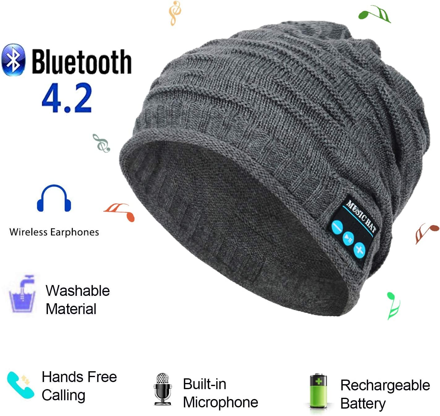 Bluetooth Beanie Music Hat,Wireless Headphones Musical Speaker Wave Pattern Knitted Cap for Winter Walking Dog Winter Sports Traveling Exercise Running Waiting Bus (Grey)