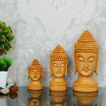 Buy Diggi Craft Set Of 3 Wood Budha Statue For Home Decor Items In Living Room Showpiece For Home Decoration Online At Low Prices In India Amazon In
